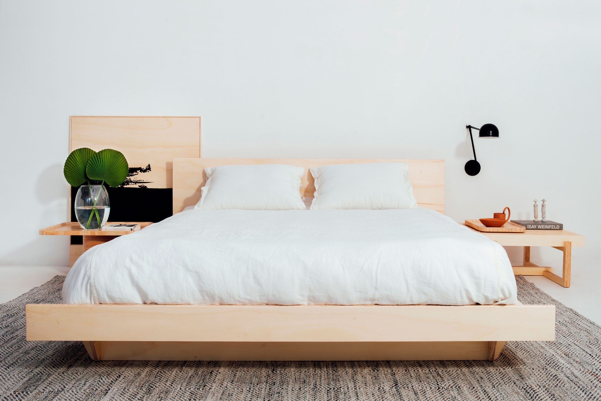 Modular premium flat pack queen bed made from eco-friendly birch plywood